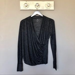 Athleta   Gray Long Sleeve Wrap Style Top